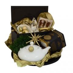 """Луксозен коледен чаен комплект - """"Златна Коледа"""""""